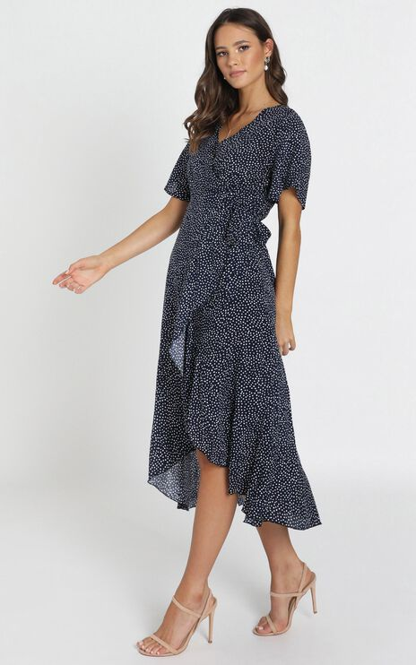 Yelina Wrap Maxi Dress In Navy Spot