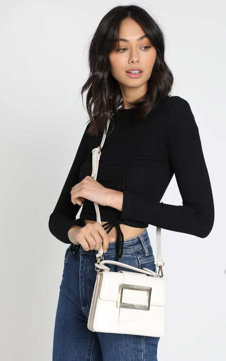 In Time Buckle Sling Bag in Beige and Gold