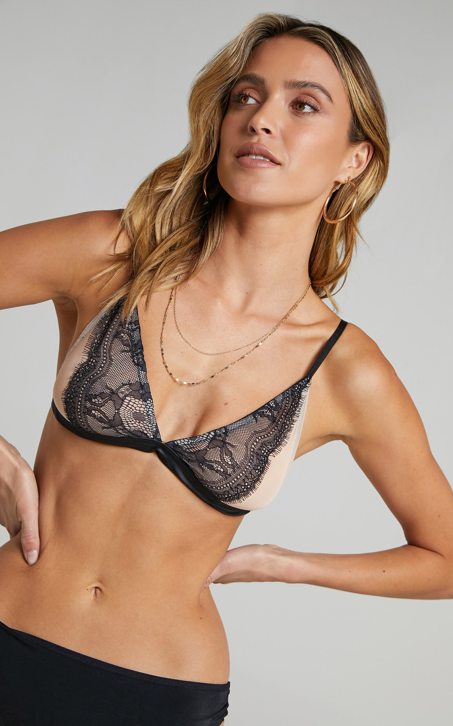 Allie Lace and Mesh Bralette in Nude and Black - S, BLK1, super-hi-res image number null