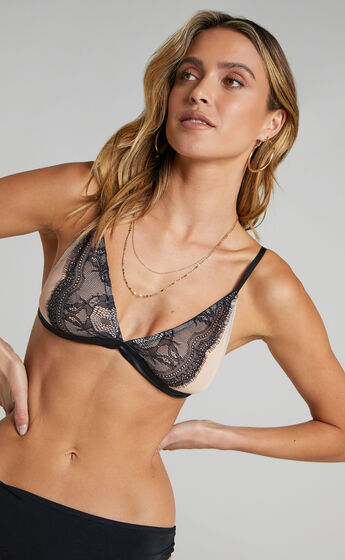 Allie Lace and Mesh Bralette in Nude and Black