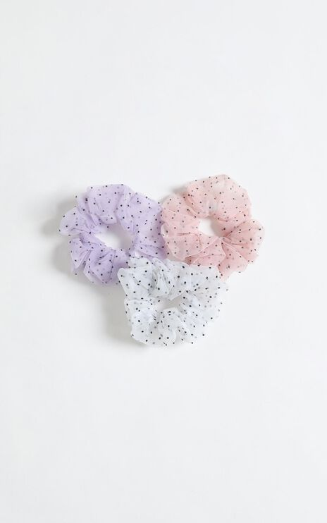 Perfect Combo Organza Scrunchie 3 Pack in Lilac White and Pink Spot