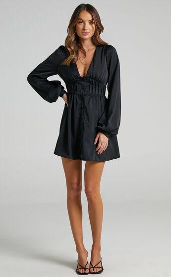 Barley Long Sleeve Corset Mini Dress in Black