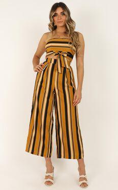 Keep On Flourishing Two Piece Set In Mustard Stripe