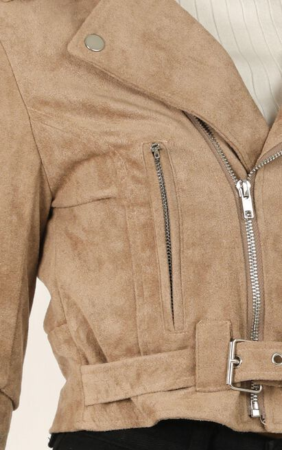 Rocker Chick Jacket In Taupe Suedette - 20 (XXXXL), Brown, hi-res image number null