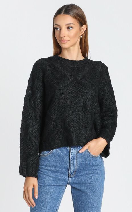 Tilda Diamond Pattern Jumper in Black