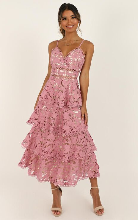 In Other News Dress In Mauve Lace