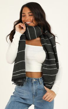 Cross You Out Scarf In charcoal Stripe