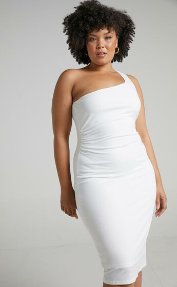 Got Me Looking One Shoulder Bodycon Midi Dress in White