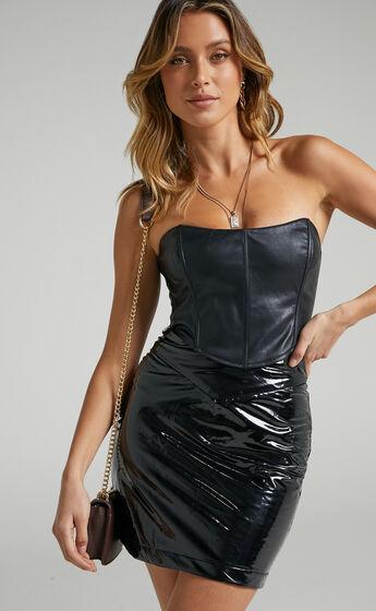 Tania Mini Skirt in Black Latex