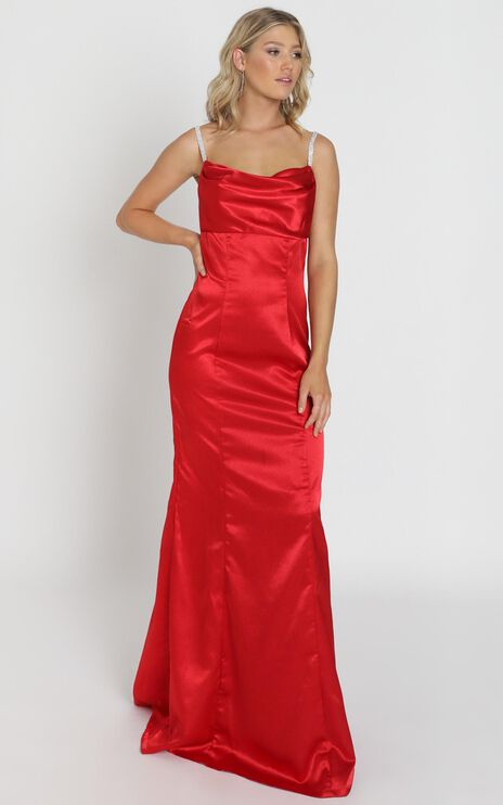 Alysha Diamante Strap Maxi Dress In Red Satin