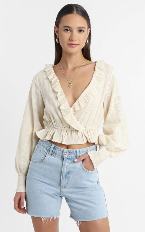 Luella Long Sleeve Top in Beige Check