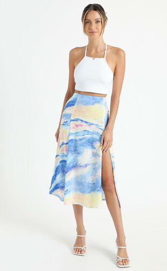 Cools Club - A Line Split Midi Skirt in Ocean Glitter