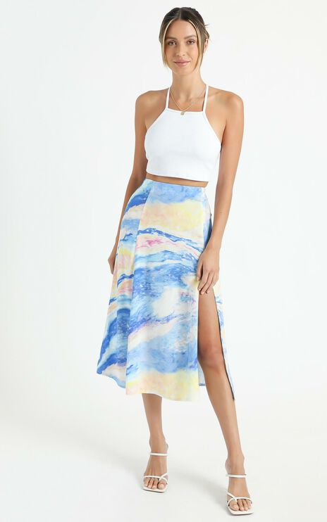 Cools Club - A Line Split Midi Skirt in Ocean Glitter