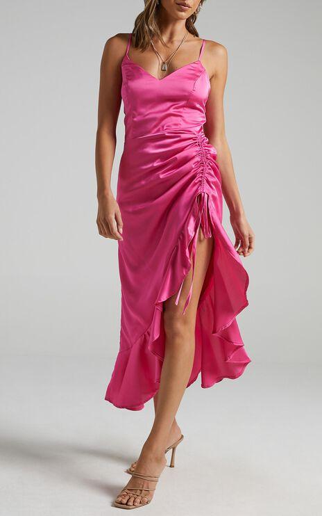 Theoden Dress in Pink Satin