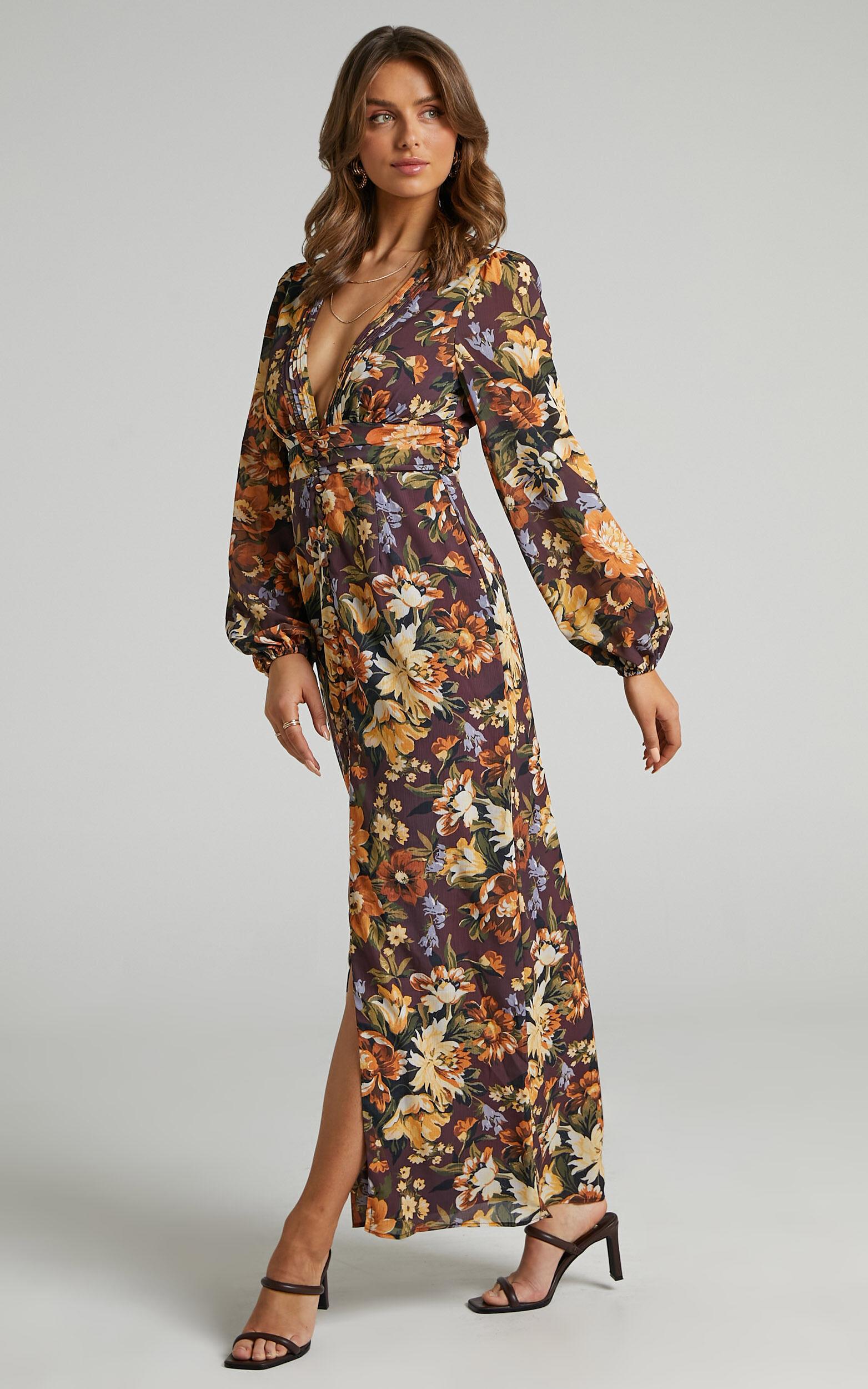 Lorelei V Neck Balloon Sleeve Maxi Dress in Indulgent Bloom - 06, BRN1, super-hi-res image number null
