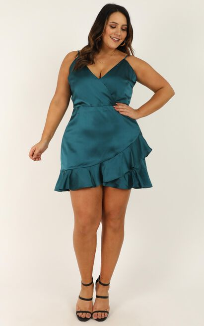 Cloud Cover Dress in teal satin - 20 (XXXXL), Green, hi-res image number null