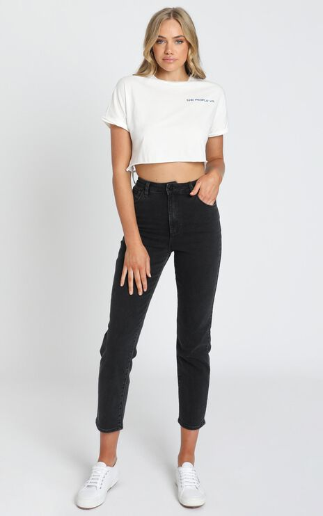 The People Vs - Pop Crop Tee in White