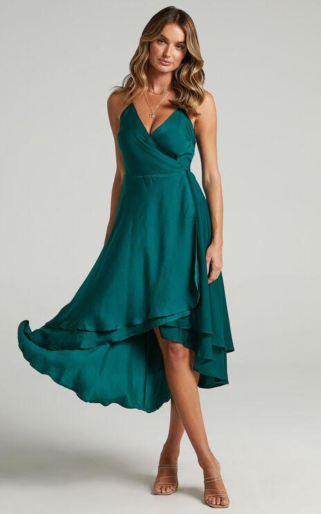 Between Fantasy Dress In Emerald Satin