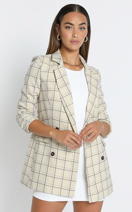 Sort it out Blazer in Cream Check
