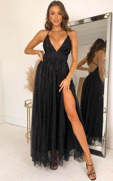 Lady Godiva Dress In Black Glitter