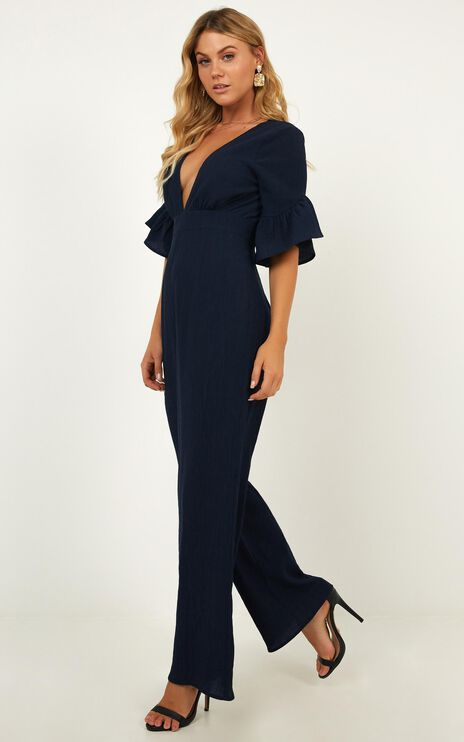 Lala Land Jumpsuit In Navy Linen Look
