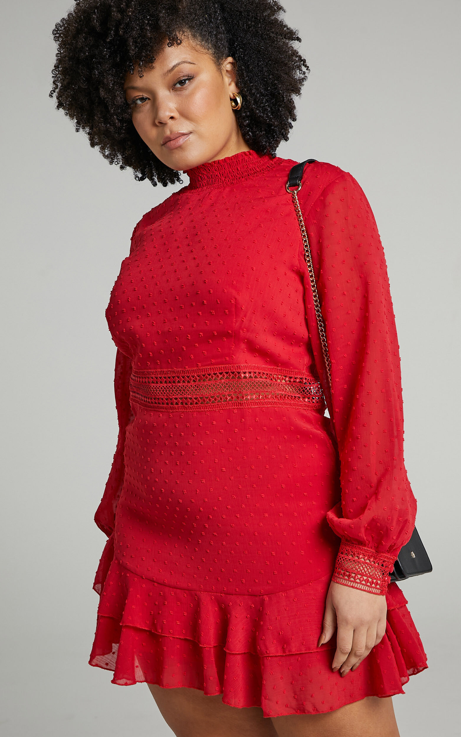 Are You Gonna Kiss Me Long Sleeve Mini Dress in Red - 04, RED2, super-hi-res image number null