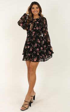 Spring Blossom Dress In Black Floral