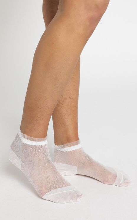 Step Out Glitter Socks in White