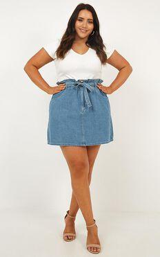 Kyla Denim  Skirt In Blue Wash