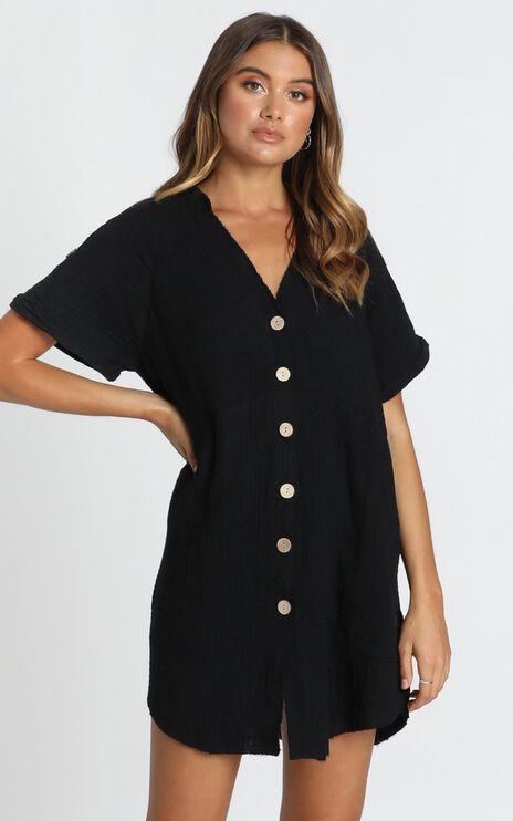 Rosalind Button Through Dress In Black