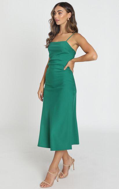 Regina Satin Slip Dress in forest green - 6 (XS), Green, hi-res image number null
