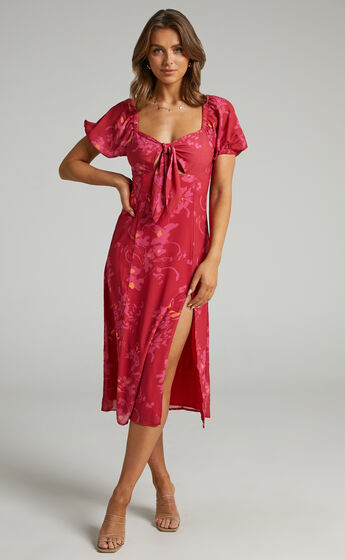 Cyia Tie Bust Midi Dress with Leg Slit in Red Floral