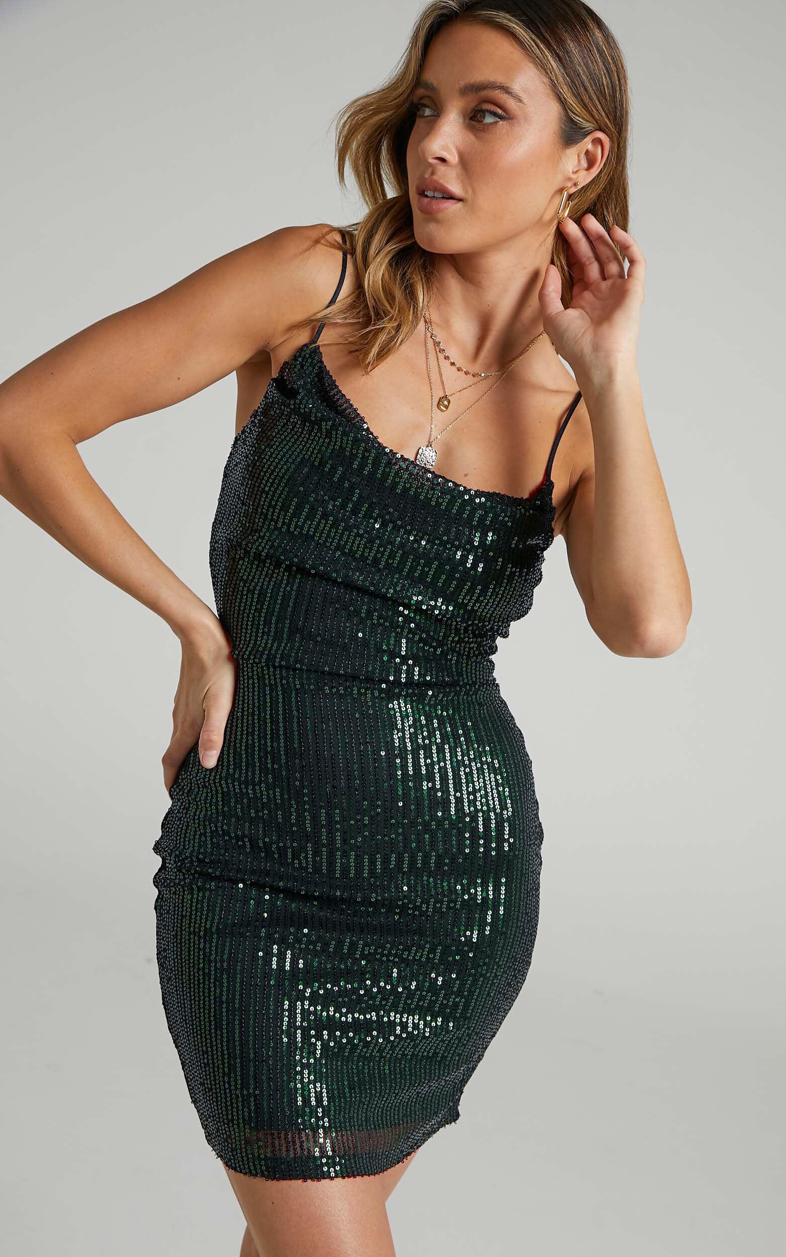 Talyah Mini Dress in Emerald Sequin - 06, GRN1, super-hi-res image number null