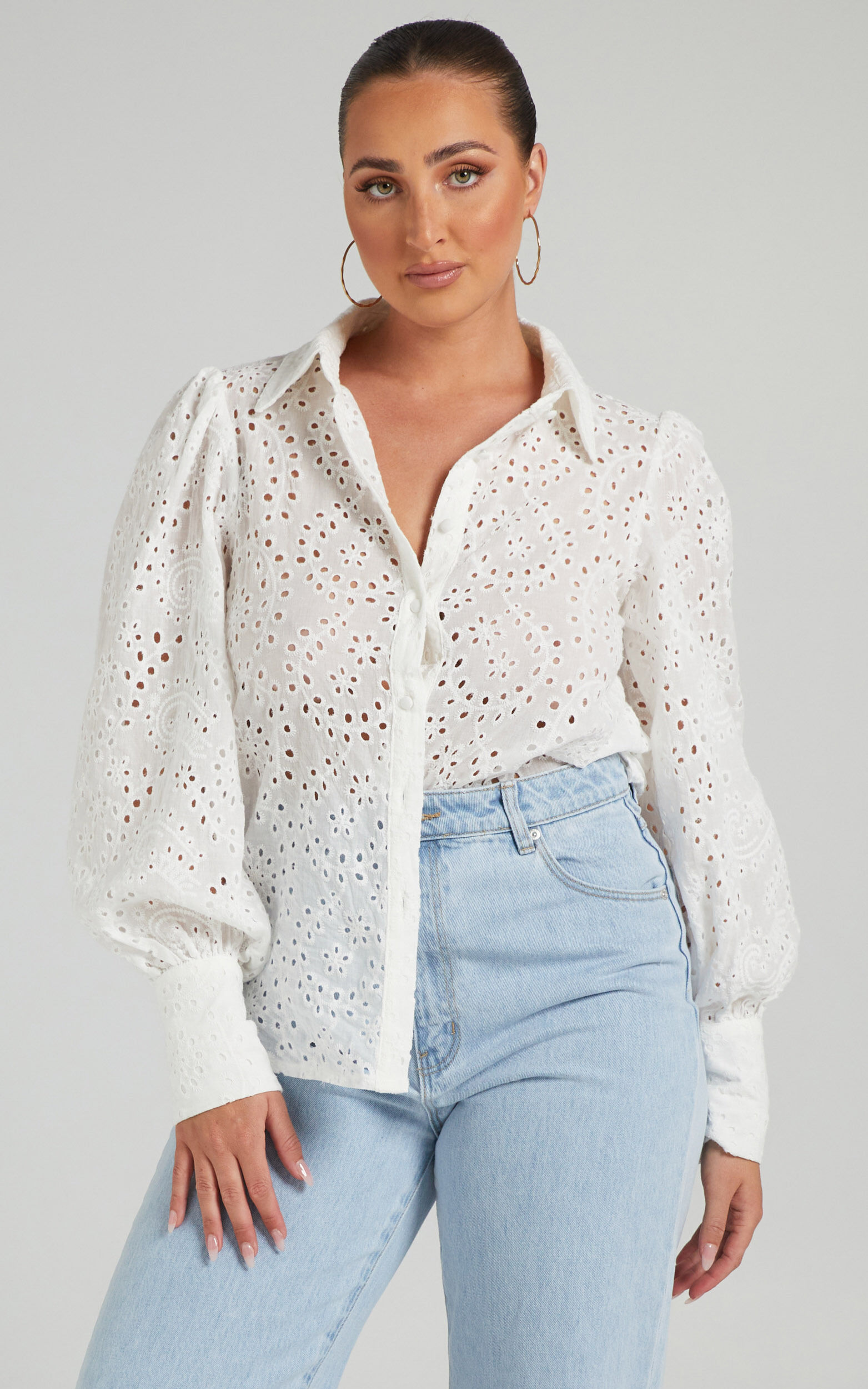 Crystiana Embroidered Puff Sleeve Blouse in White - 06, WHT1, super-hi-res image number null