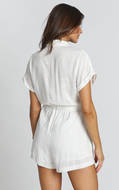 Zarina Belted Playsuit in white - 12 (L), White, hi-res image number null