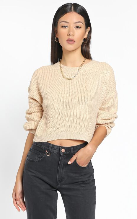 Frankie Cropped Boxy Knit in Mocha