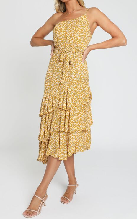 Be With Me Instead Dress in Mustard Print