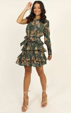 Hold Me Forever Dress In Green Floral