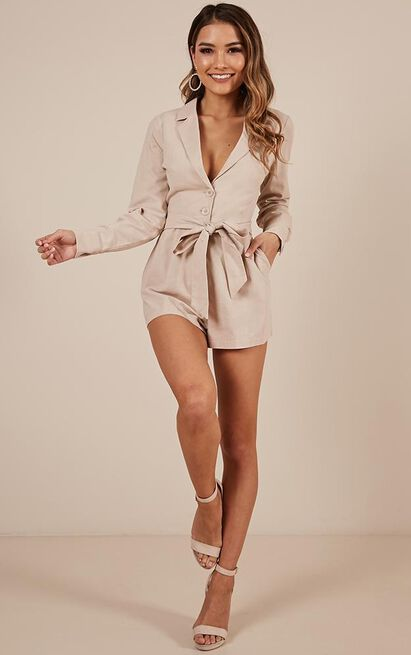 What A Girl Wants Playsuit in beige Linen Look - 14 (XL), Beige, hi-res image number null