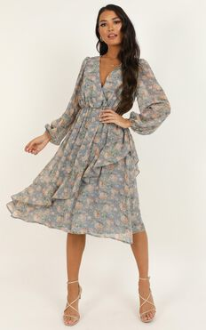Eternal Youth Dress In Blue Floral