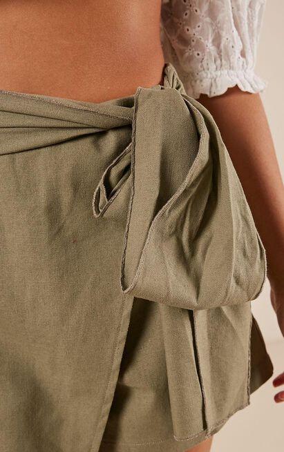 Meet Your Maker skort in khaki linen look, Khaki, hi-res image number null
