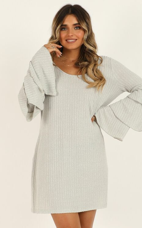 Swaying Away Dress In Grey Marle