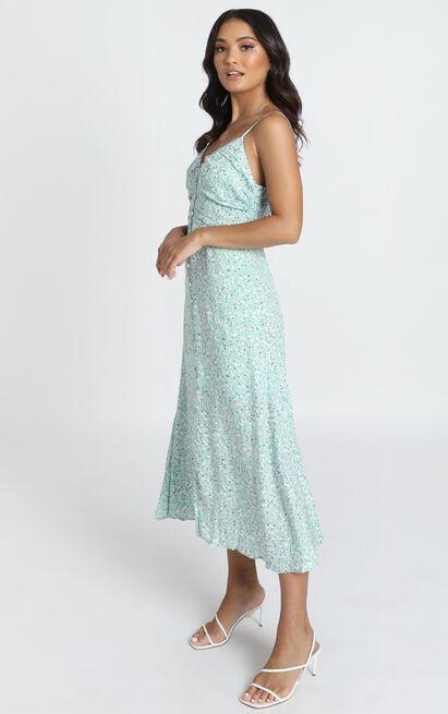 Kaia Midi Dress in blue floral - 12 (L), Blue, hi-res image number null