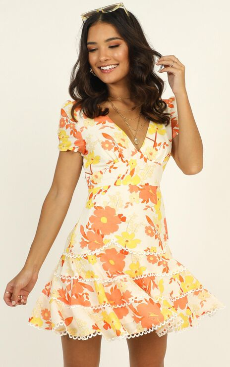 Cant Let Go Dress In Orange Floral