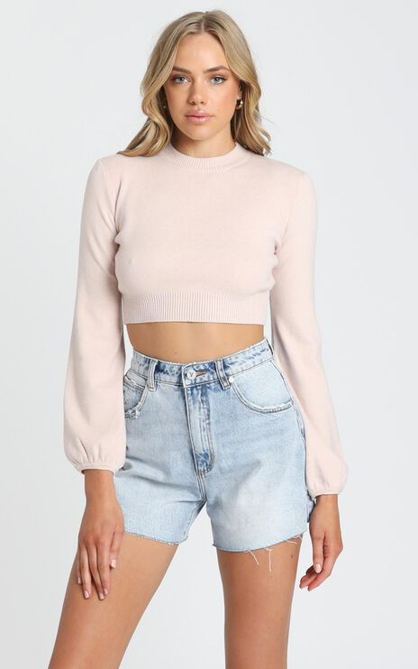 Nelli Cropped Knit Jumper in Blush