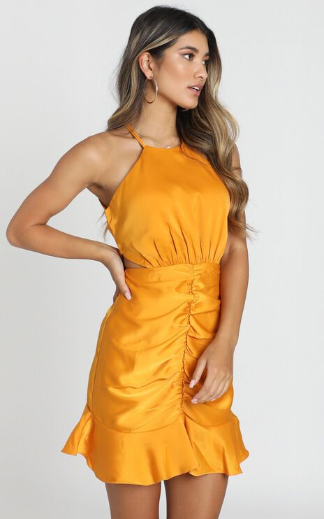 Be Humble Dress in Mustard Satin