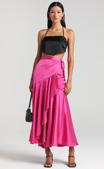 Tyce Skirt in Pink Satin