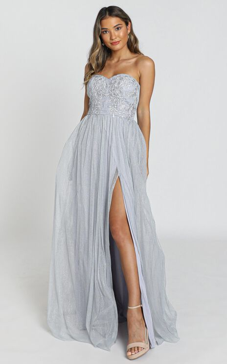 Can't Help It maxi dress in grey