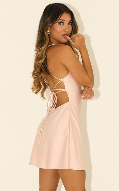 Before Your Time dress in blush satin - 16 (XXL), Blush, hi-res image number null