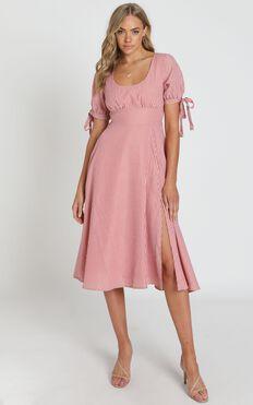 No Fuss Type Dress in Blush Stripe